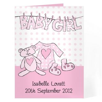 Baby Girl Letter W Line Card
