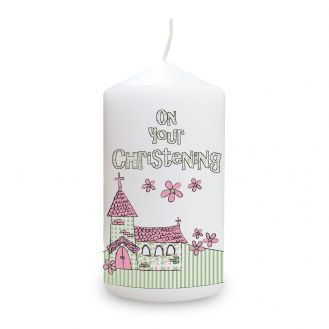 Pink Christening Church Candle