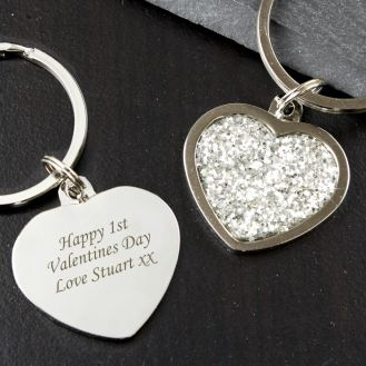 Diamante Heart Keyring