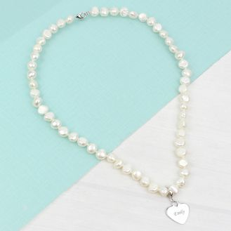White Freshwater Pearl Name Necklace