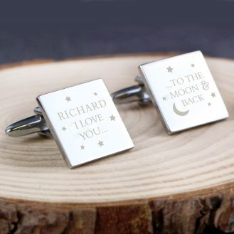 To the Moon and Back Square Cufflinks