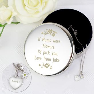 Engraved Floral Round Trinket Box & Silver Heart Pendant with Daisy Charm Gift Set