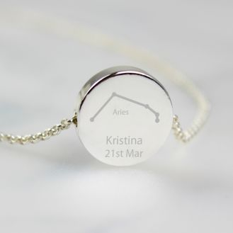 Personalised Aries Zodiac Star Sign Silver Tone Necklace (March 21st-April 19th)
