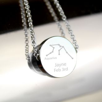 Personalised Aquarius Zodiac Star Sign Silver Tone Necklace (January 20th - February 18th)