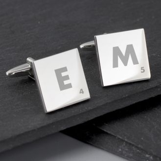 Personalised Initials and Age Square Cufflinks