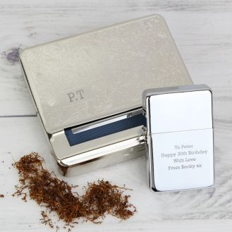 Personalised Tobacco Tin and Silver Lighter Set