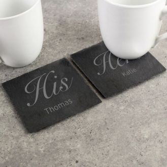 Personalised His and Hers Slate Coaster Set