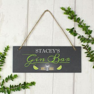 "Personalised ""Gin Bar"" Printed Hanging Slate Plaque"