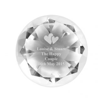 Heart Motif Diamond Paperweight