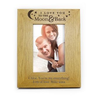 To the Moon and Back... Oak Finish 6x4 Frame