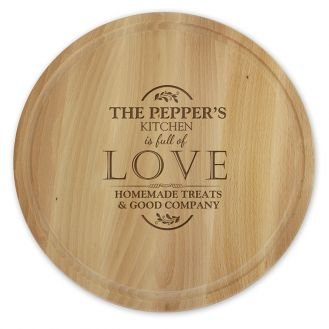 Full of Love Large Round Chopping Board