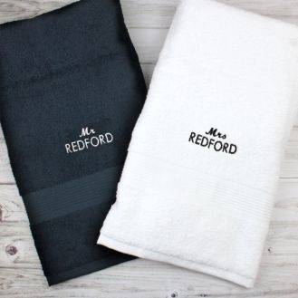 Personalised Mr & Mrs Black and White Bath Towel Set