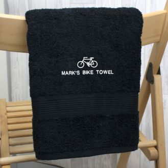 Personalised Bicycle Black Hand Towel