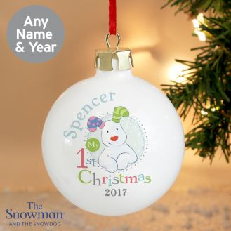 The Snowman and the Snowdog My 1st Christmas Blue Bauble