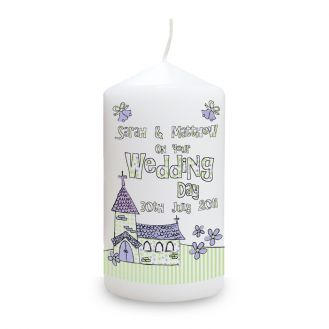 Whimsical Church Wedding Candle