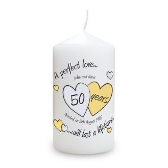 A Perfect Love Golden Anniversary Candle