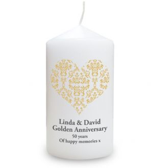 Gold Damask Heart Candle