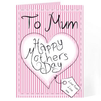 Heart Stitch Happy Mother`s Day Card