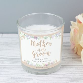 Personalised Floral Watercolour Mother of the Groom Wedding Scented Jar Candle