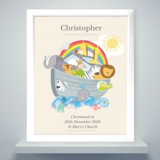 Personalised Noah's Ark White Framed Poster Print