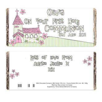 Whimsical Church Pink 1st Holy Communion Chocolate Bar