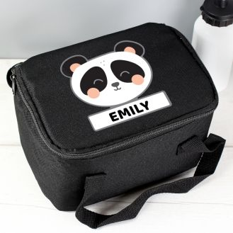 Personalised Panda Black Lunch Bag