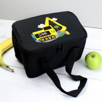Personalised Digger Black Lunch Bag