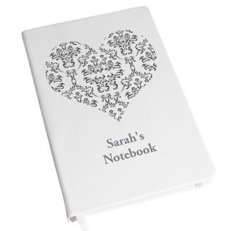 Damask Heart Hardback A5 Notebook