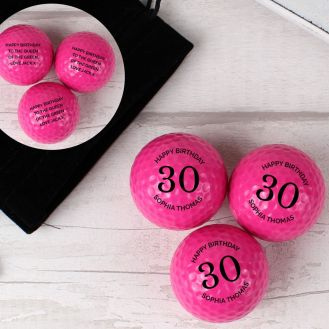 Personalised Birthday Pack of Three Pink Golf Balls