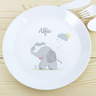 Personalised Hessian Elephant Plastic Plate