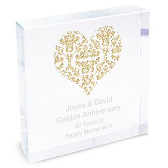 Gold Damask Heart Large Crystal Block