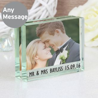 Any Message Crystal Photo Block Frame