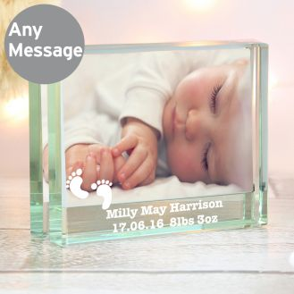 Footprints Crystal Photo Block Frame