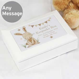 Hessian Rabbit Wooden Jewellery Box