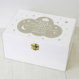 Personalised Twinkle Twinkle White Wooden Keepsake Box