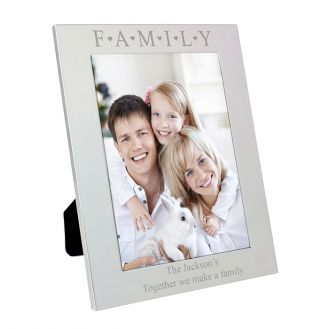 Silver 5x7 Family & Hearts Frame